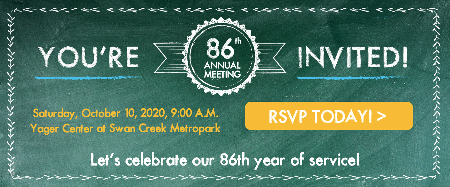 Annual Meeting rescheduled to October 10, 2020 - Space is limited, RSVP today!